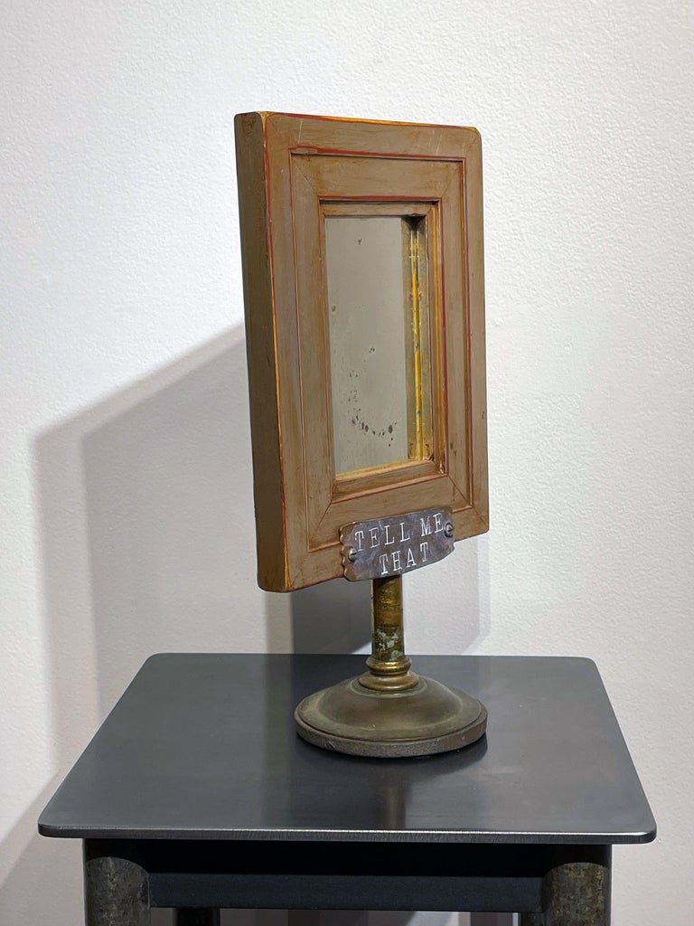 Hand-Crafted Vanity Mirror, Tell Me That You Love Me, Sculptural Mirror Object with Painting For Sale