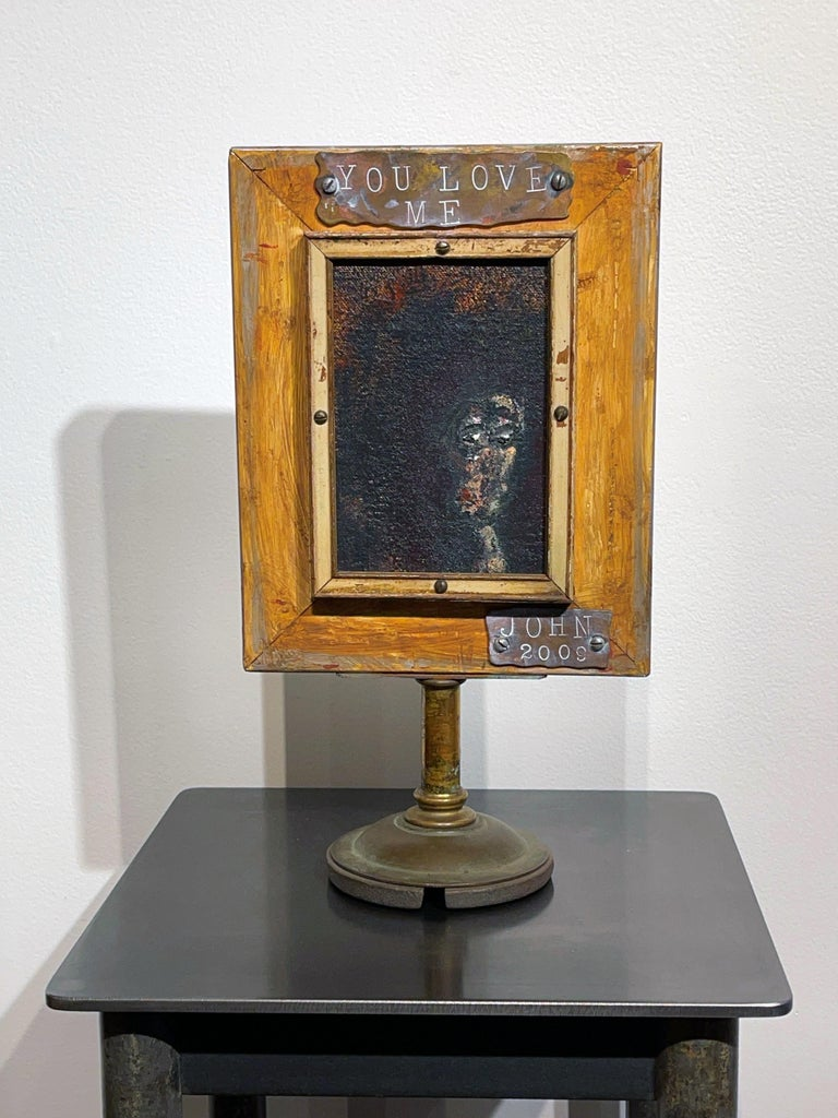 Vanity Mirror, Tell Me That You Love Me, Sculptural Mirror Object with Painting In New Condition For Sale In Chicago, IL