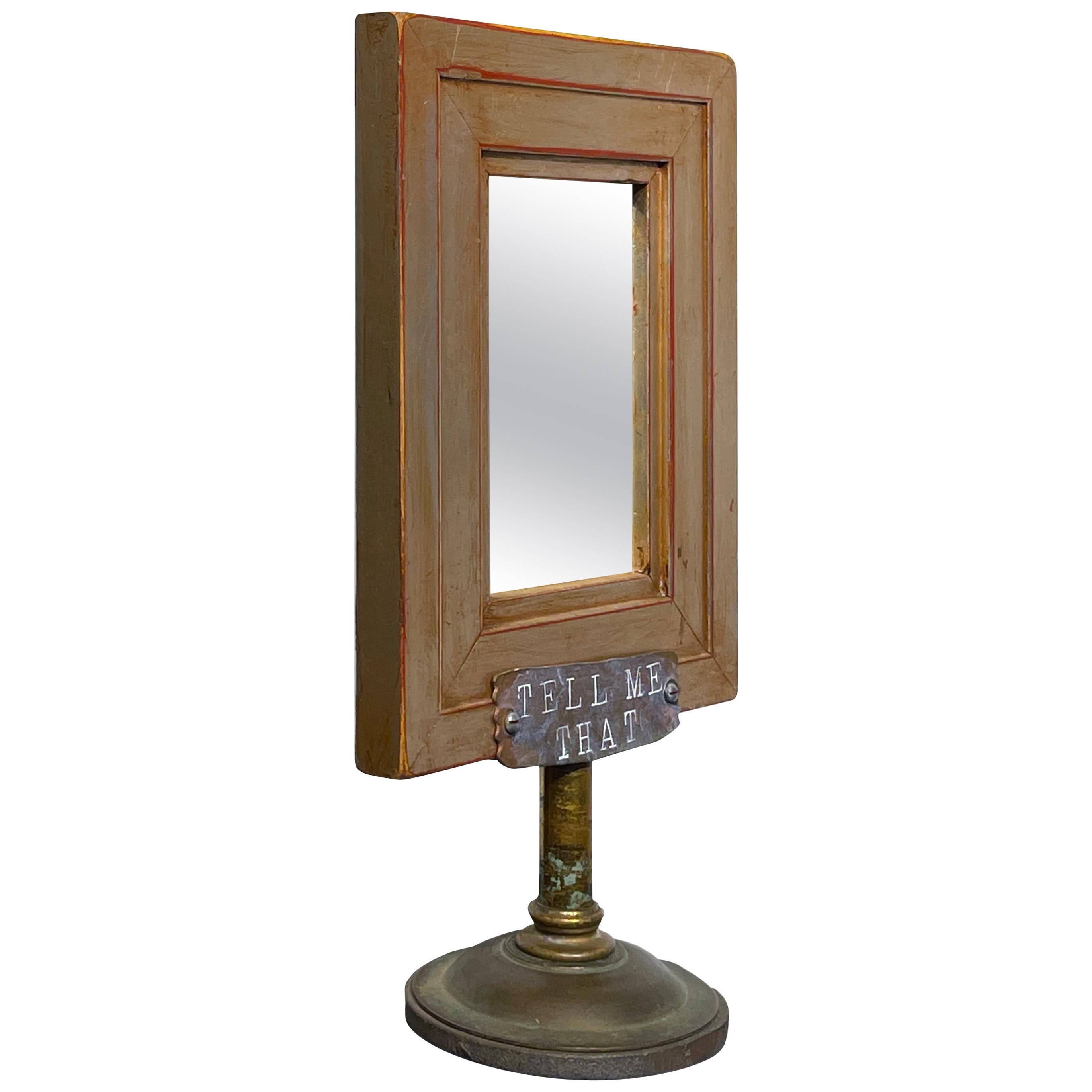 Vanity Mirror, Tell Me That You Love Me, Sculptural Mirror Object with Painting