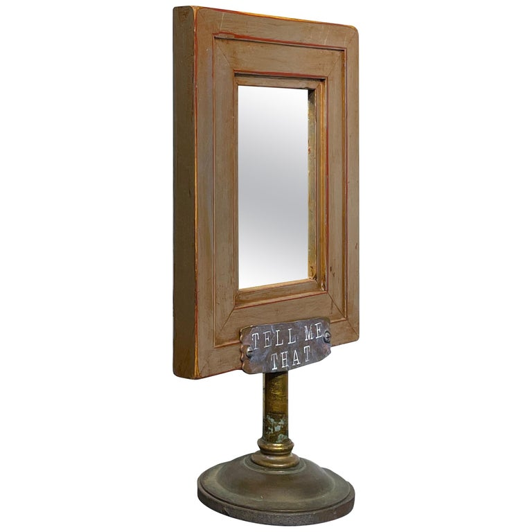 Vanity Mirror, Tell Me That You Love Me, Sculptural Mirror Object with Painting For Sale
