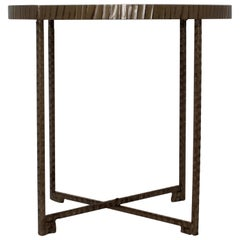 Mirror Top Metal Accent Table