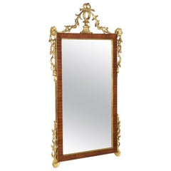 Mirror Veneered in Mahogany with Decorations in Pure Gold Gilded Wood Early '900