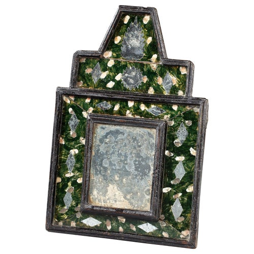 Mirror, Verre Eglomise, Reverse Painting, Gilded, Ebonised, Renaissance, Inlaid