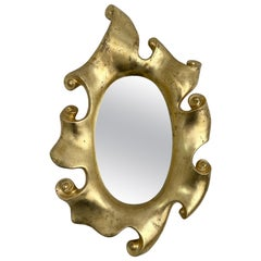 Mirror Volute Gold Leaf by Jean Boggio for Les Héritiers, France, 1980s
