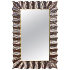 Mirror with a Copperish Murano Glass Frame, by Studio Glustin