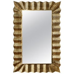 Mirror with a Golden Murano Glass Frame, by Studio Glustin