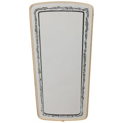 Mirror with Black and White Abstract Painting in Brass Frame, 1950s