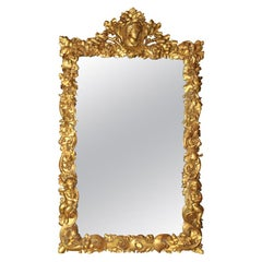 Mirror with Carved Oak 17th Century Frame with 19th Century Gold Leaf
