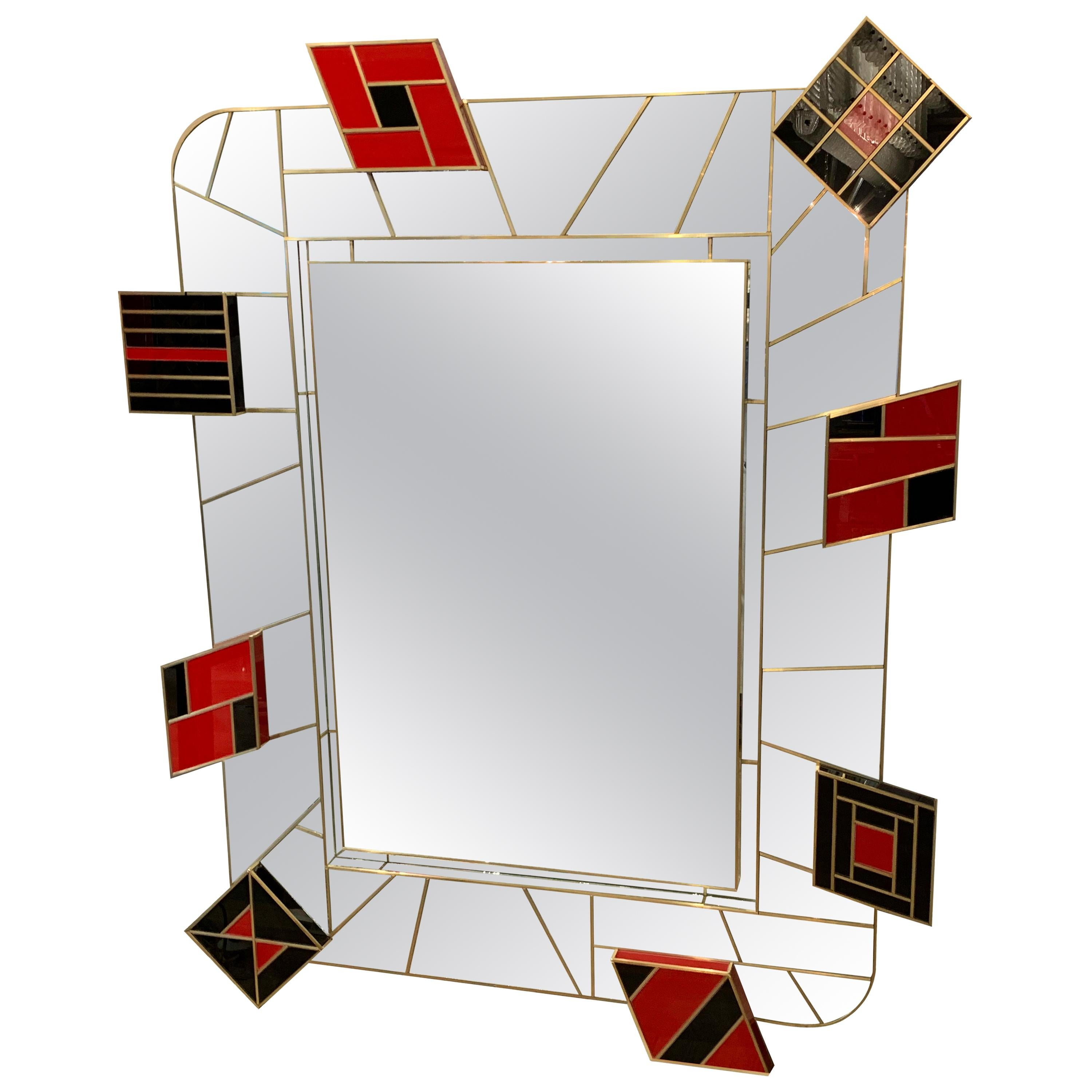 """Mirror with Decorations in Tinted Glass Signed """"Martin Studio"""" Exclusive Model"""