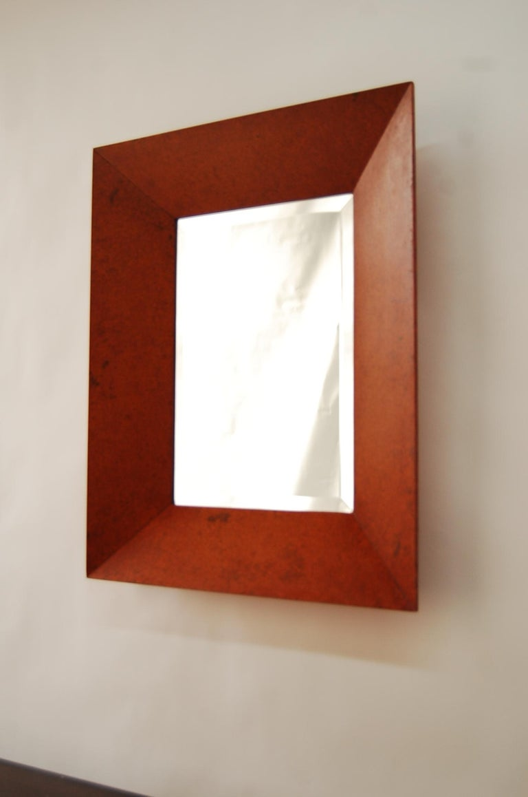 Mid-Century Modern Mirror with Deep Well Carpathian Elm Burl Frame, Designed by Edward Wormley For Sale