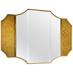 Mirror with Frame Bronze Finish Metal Lateral Wings with Tiny Mosaic Insert