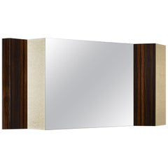 Mirror with Frame in Ebony Veneer Decorative Insert Vetrite Clear Central Mirror