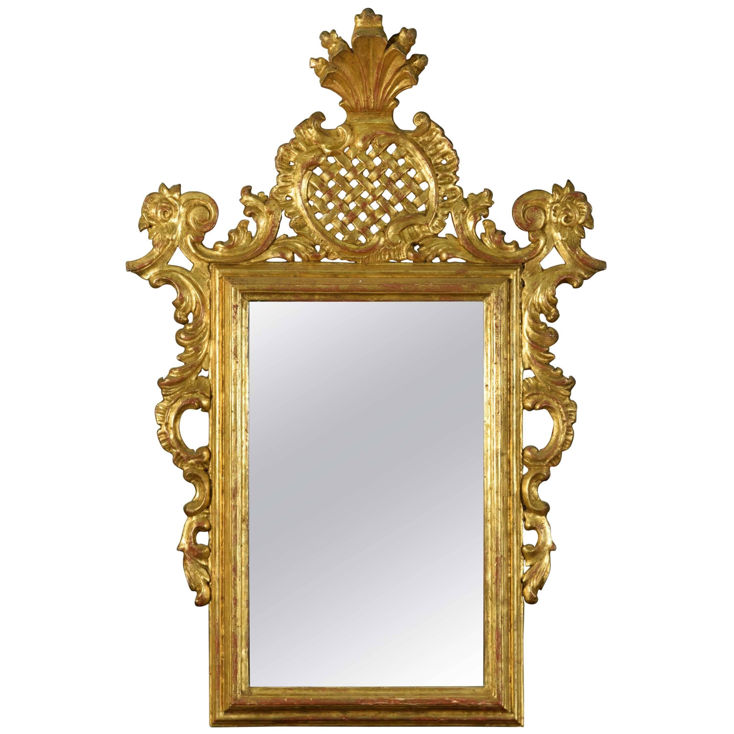 Mirror with Rococo Style Frame, Wood, 20th Century
