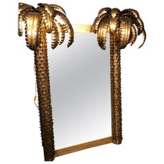 Mirror with Two Sconces in Gold Metal