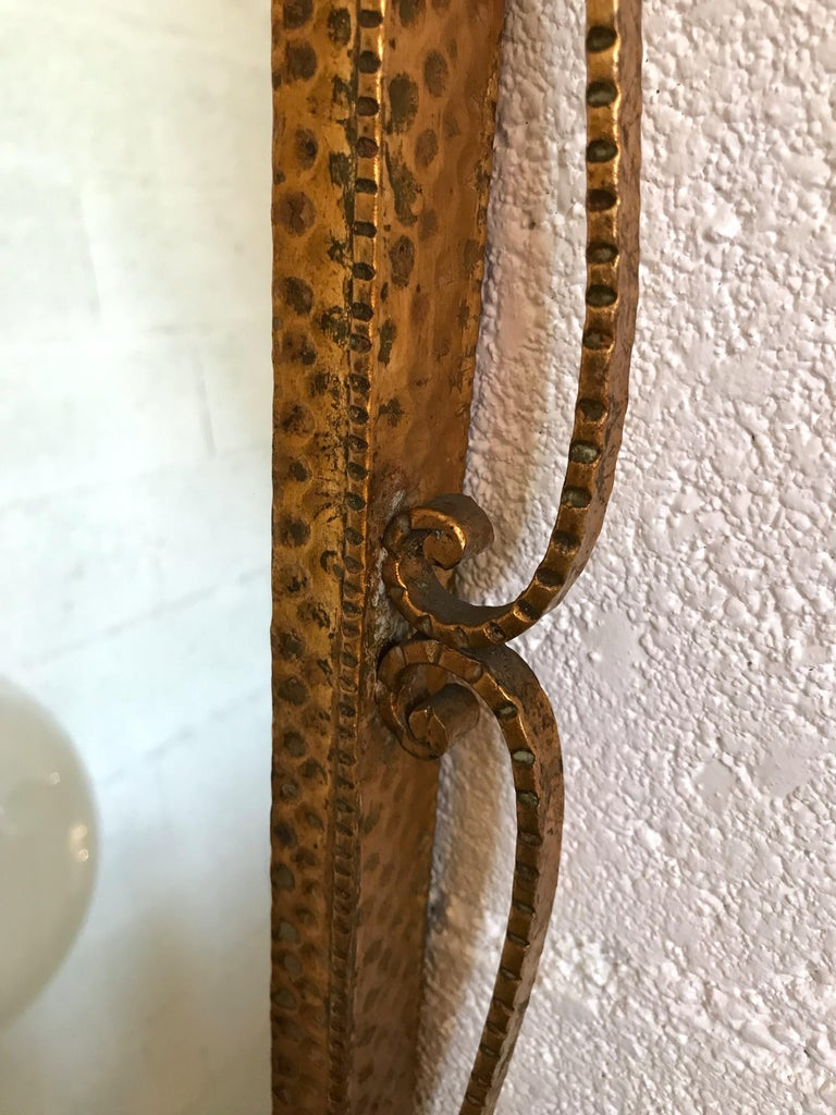Italian Mirror Wrought Iron Gold Leaf by Pier Luigi Colli, Italy, 1950s For Sale
