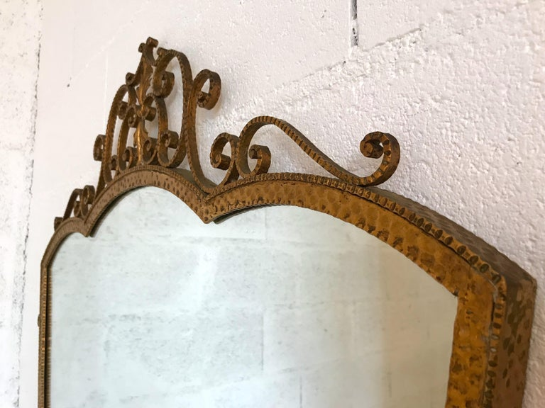 Hammered Mirror Wrought Iron Gold Leaf by Pier Luigi Colli, Italy, 1950s For Sale