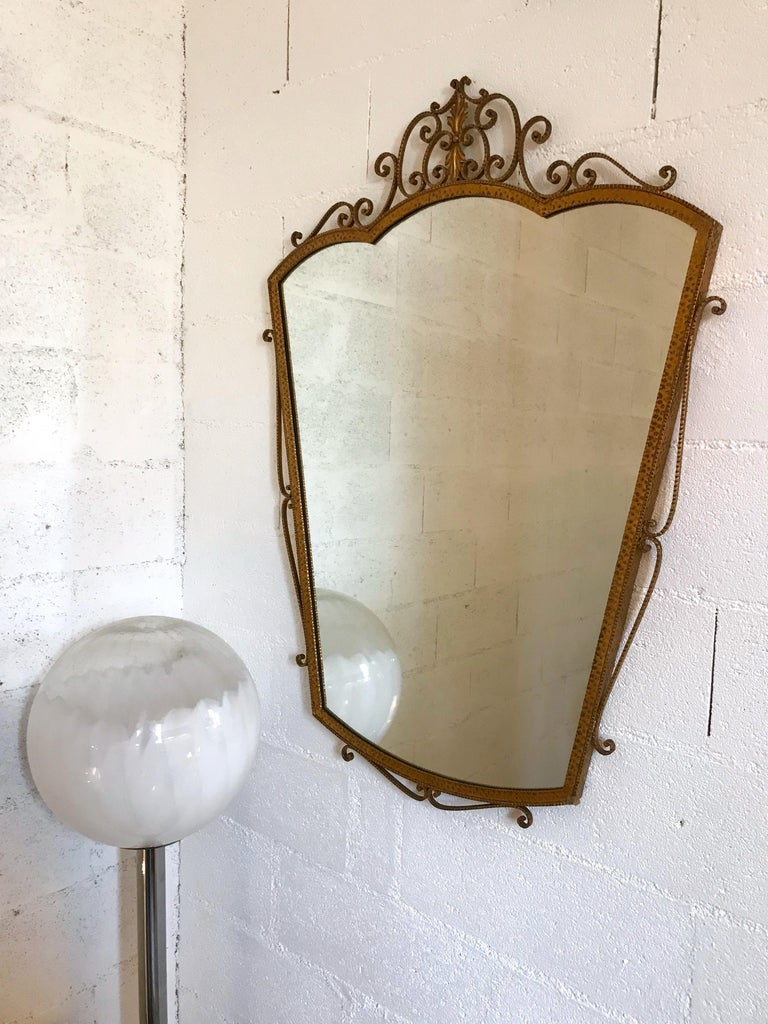 Mid-20th Century Mirror Wrought Iron Gold Leaf by Pier Luigi Colli, Italy, 1950s For Sale