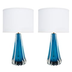 Mirrored Aqua Murano Glass Lamps