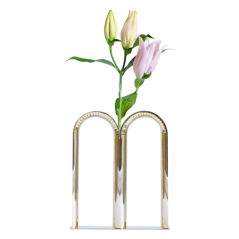 """Mirrored Brass """"Bicaudata"""" Vase, Ilaria Bianchi For Sale"""