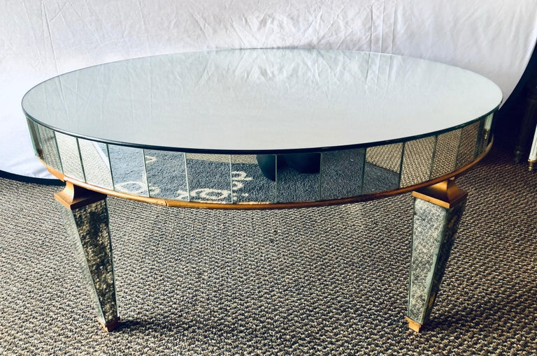 Mirrored Circular Art Deco Style Coffee or Low Table In Good Condition For Sale In Stamford, CT