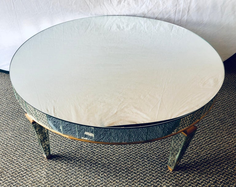 Mirrored Circular Art Deco Style Coffee or Low Table For Sale 1