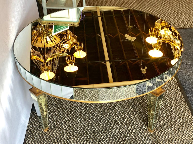 Mirrored Circular Art Deco Style Coffee or Low Table For Sale 2