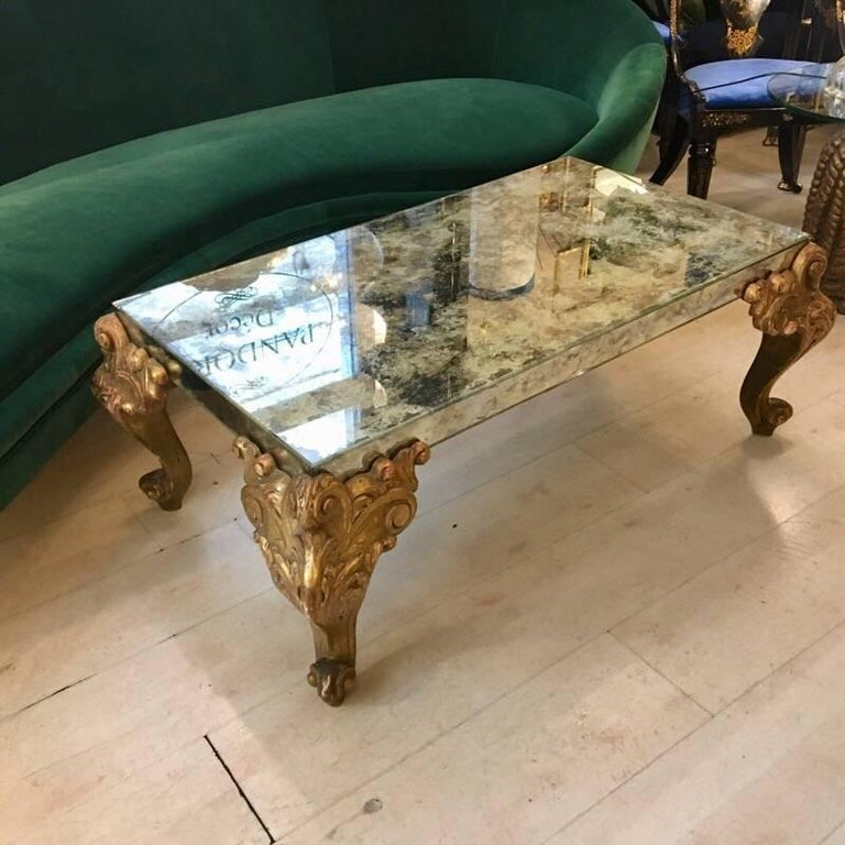 Mirrored Glass Coffee Table With Carved Wooden Gold Legs 1900s At