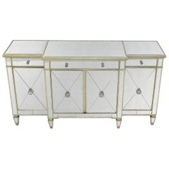 Mirrored Glass Sideboard Cabinet Credenza Console
