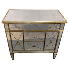 Mirrored Hollywood Regency Style Large Nightstand or Commode