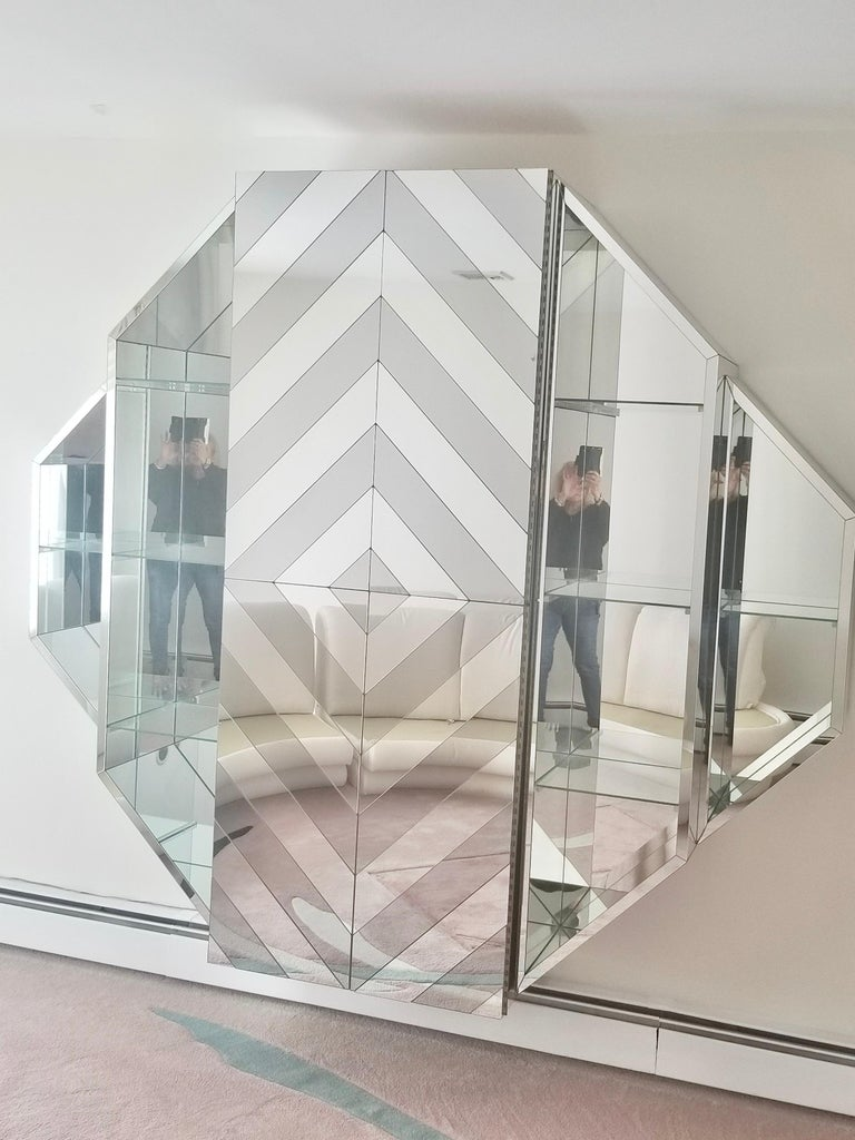 Mid-Century Modern Mirrored Octagonal Wall-Mounted Bar Cabinet For Sale