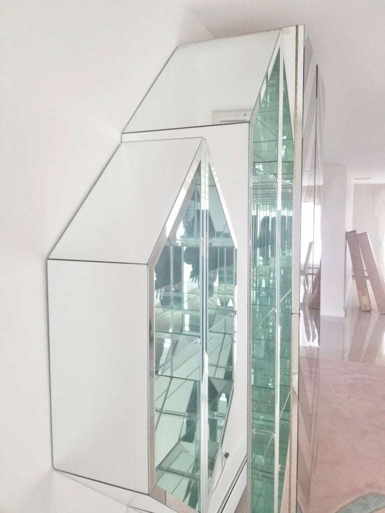 Glass Mirrored Octagonal Wall-Mounted Bar Cabinet For Sale