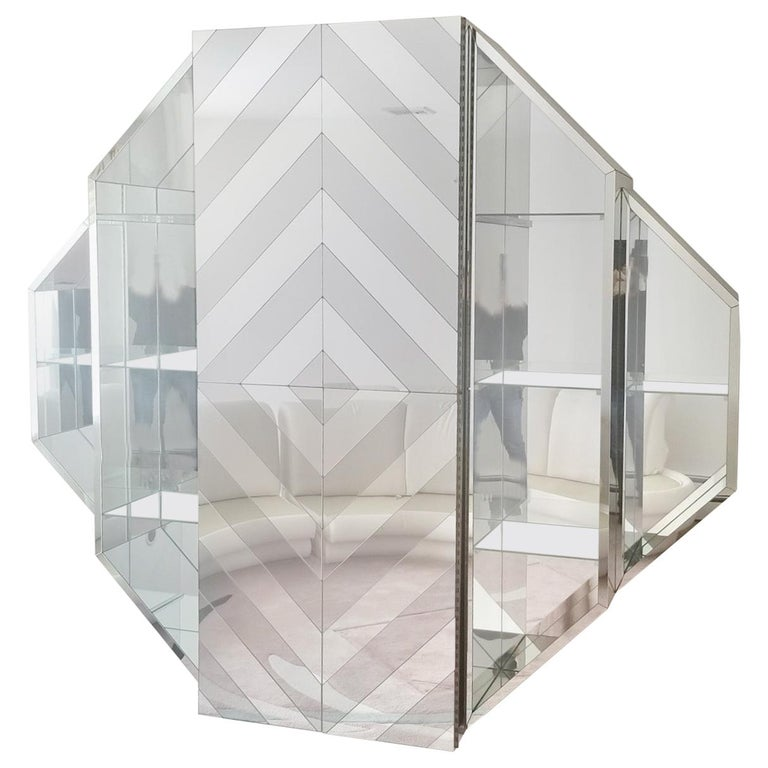 Mirrored Octagonal Wall-Mounted Bar Cabinet For Sale