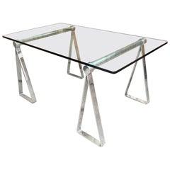 Mirrored Polished Aluminum Sawhorse Table Desk