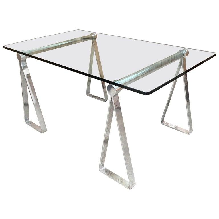 Mirrored Polished Aluminum Sawhorses For Sale 6