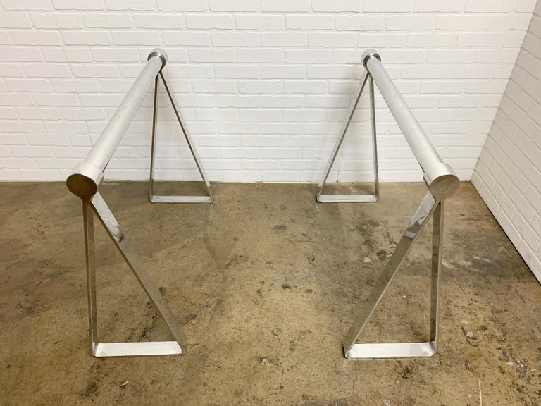 Mirrored Polished Aluminum Sawhorses In Good Condition For Sale In Laguna Hills, CA