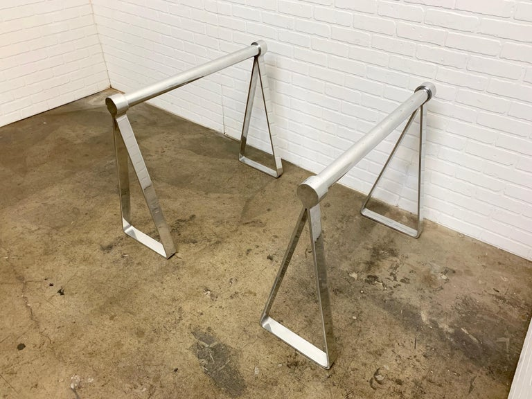 20th Century Mirrored Polished Aluminum Sawhorses For Sale