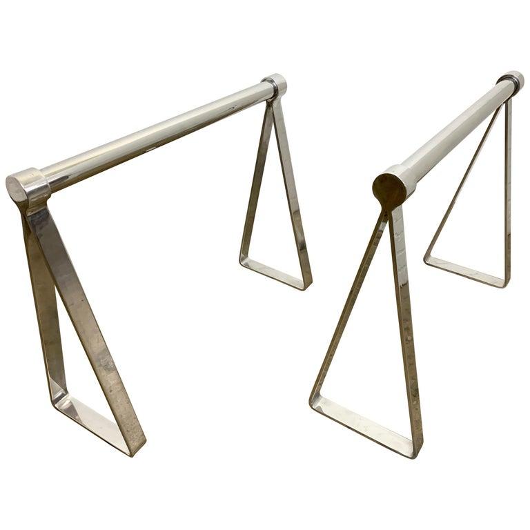 Mirrored Polished Aluminum Sawhorses For Sale