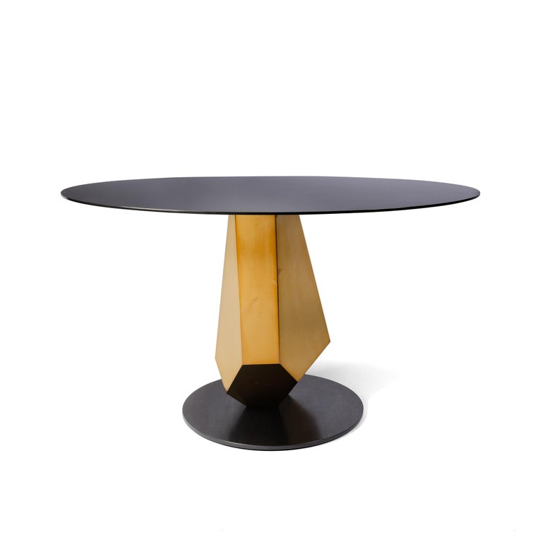 Modern Geometric Sculptural Metal Table Mirror Polished Bronze & Blackened In Stock For Sale