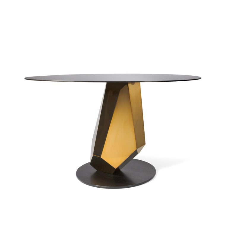 American Geometric Sculptural Metal Table Mirror Polished Bronze & Blackened In Stock For Sale