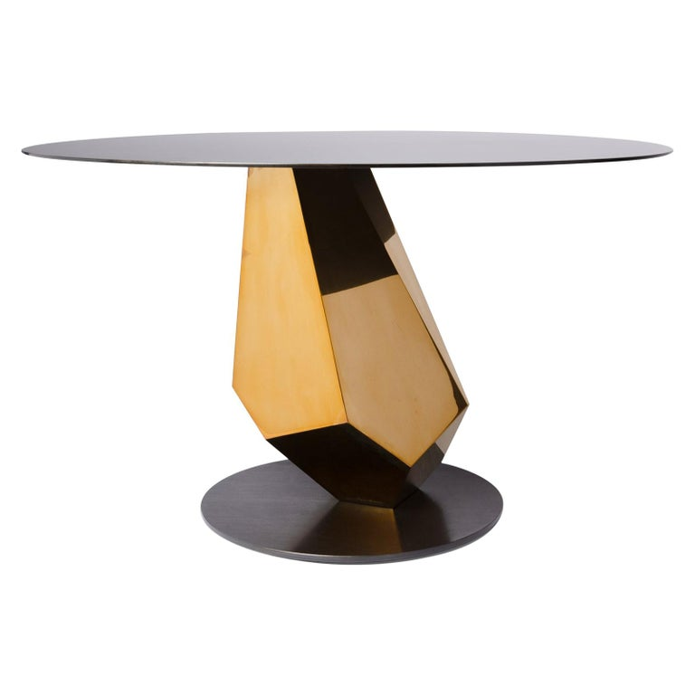 Geometric Sculptural Metal Table Mirror Polished Bronze & Blackened In Stock For Sale