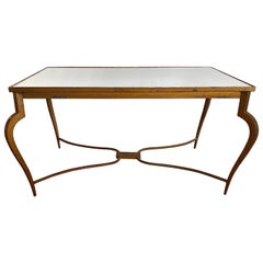 Mirrored René Prou Coffee or Cocktail Table in Gold Painted Forged Iron, 1940s