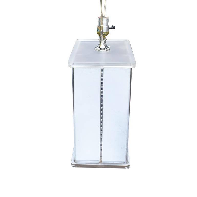 Mid-Century Modern Mirrored Retro Midcentury Lucite Statement Lamp For Sale