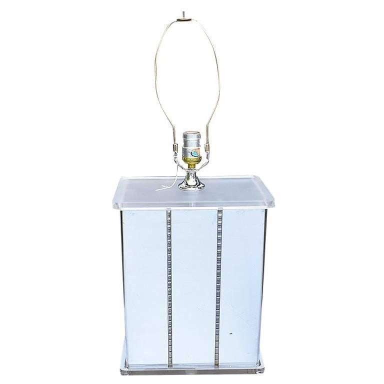 Mirrored Retro Midcentury Lucite Statement Lamp For Sale