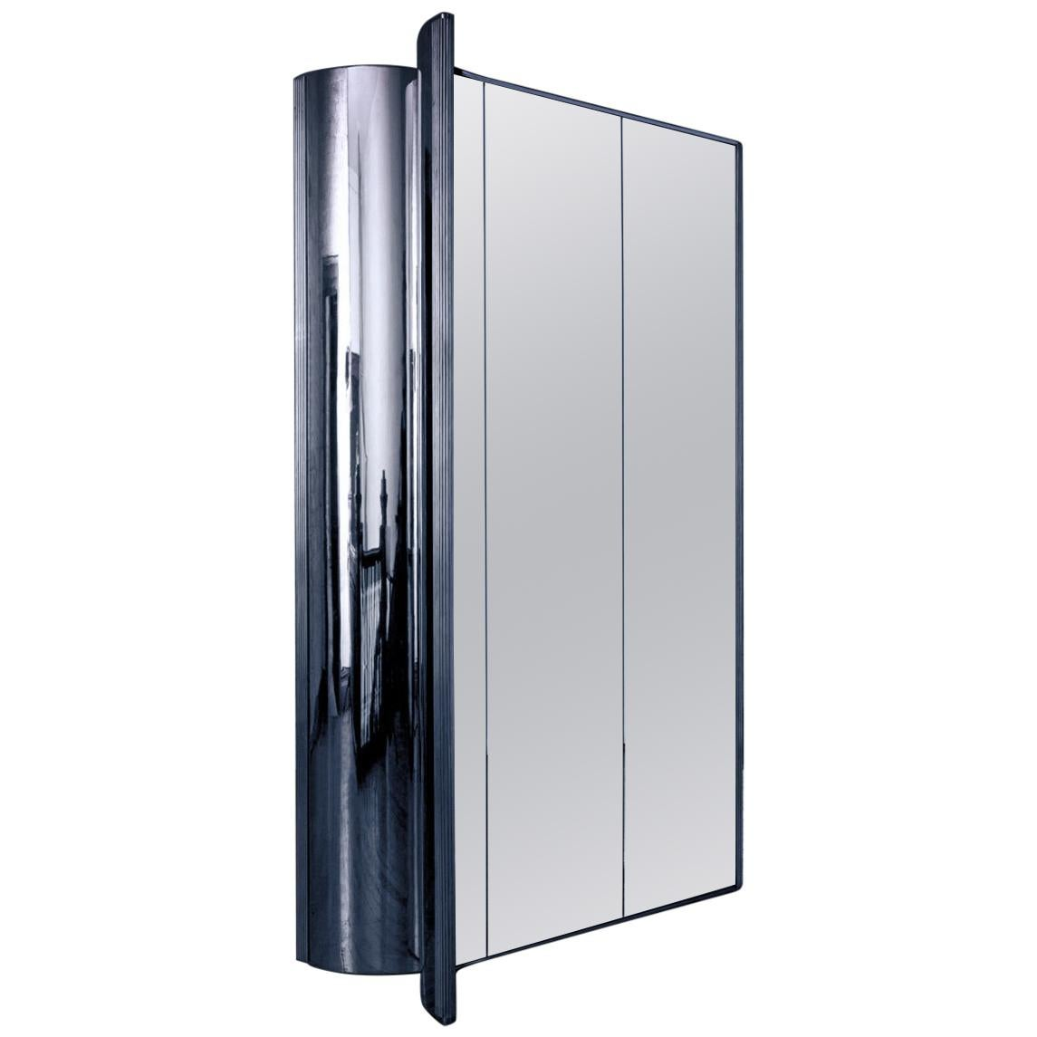 Mirrored Room Divider with Reflective Chrome Plating