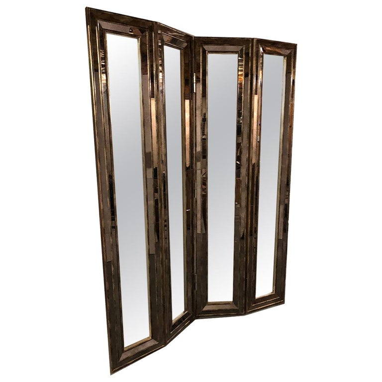 Mirrored Screen or Room Divider For Sale