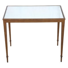 Neoclassical French Mirrored Top Bronze Side Table