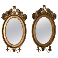 Mirrored Wall Sconces Swedish Gustavian 18th Century Signed Gilded Sweden, Pair