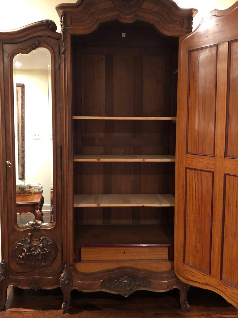 Mirrored Walnut Louis XV French Armoire In Excellent Condition For Sale In Hopewell, NJ
