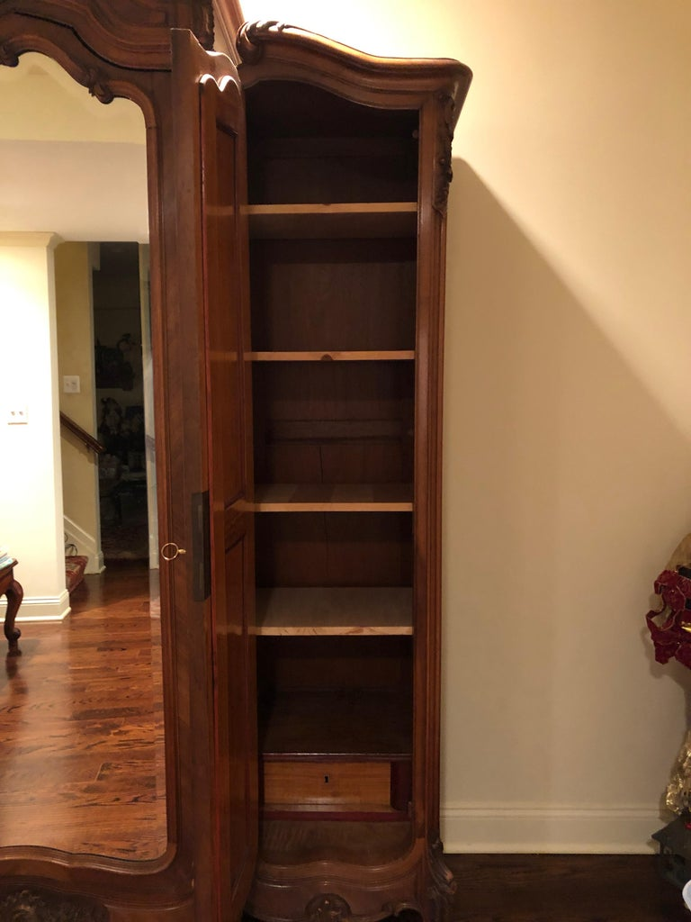 Mirrored Walnut Louis XV French Armoire For Sale 1
