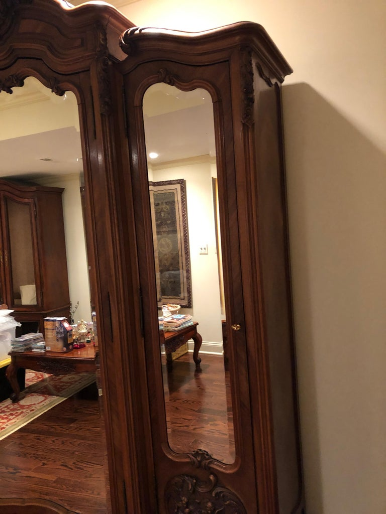 Mirrored Walnut Louis XV French Armoire For Sale 2